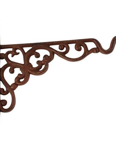 Nástenná liatinová konzola so závesom na kvetináč/kŕmidlo Esschert Design, výška17,8cm