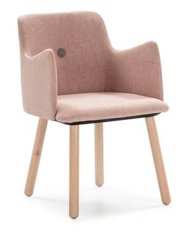 Ružová jedálenská stolička s nohami z dreva kaučukovníka Marckeric Aruba
