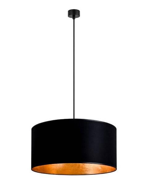 Sotto Luce Čierne závesné svietidlo s vnútrom v zlatej farbe Sotto Luce Mika, ∅ 50 cm