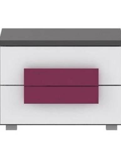 Nočný stolík sivá/biela/fialová LOBETE 02