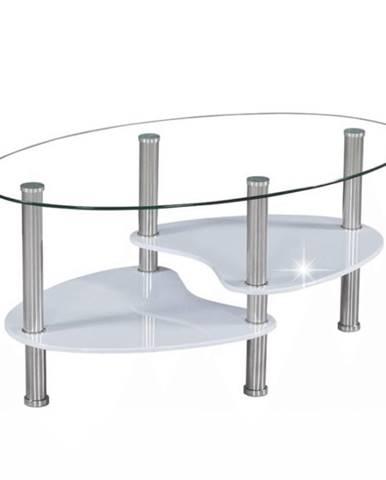 Konferenčný stolík oceľ/sklo/biela extra vysoký lesk HG AXEL NEW