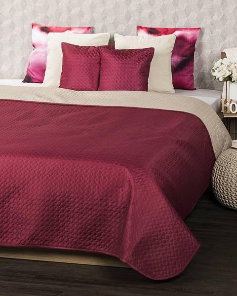 4Home 4Home Prehoz na posteľ Doubleface vínová/béžová, 220 x 240 cm, 2x 40 x 40 cm