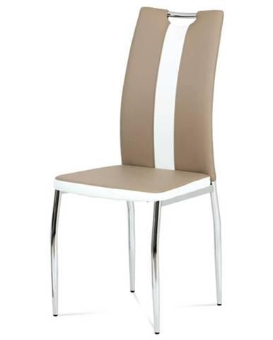 Jedálenská stolička BARBORA hnedobiela/chróm