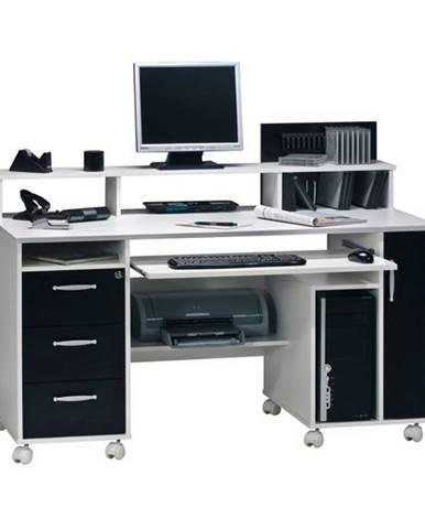 PC stôl MIKKO biela/čierna