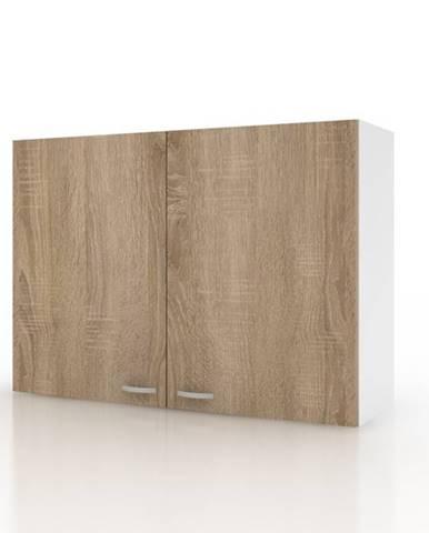 Závesná horná skrinka POLAR II dub sonoma/biela, 100 cm