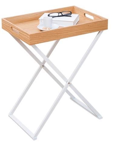 Servírovací stolík prírodná/biela BELENE