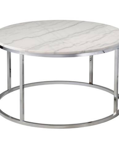 Biely mramorový konferenčný stolík s chrómovanou podnožou RGE Accent, ⌀85cm