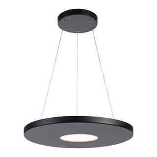 Čierne závesné svietidlo Markslöjd Plate, ø 50 cm