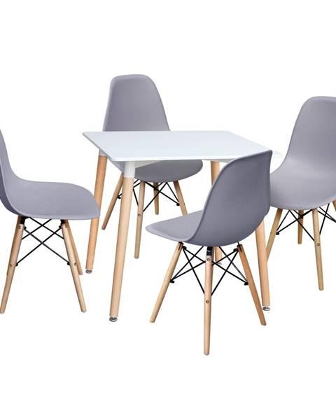 IDEA Nábytok Jedálenský stôl 80x80 UNO biely + 4 stoličky UNO sivé