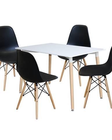 Jedálenský stôl 120x80 UNO biely + 4 stoličky UNO čierne