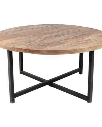 Čierny konferenčný stolík s doskou z mangového dreva LABEL51 Dex,⌀80 cm