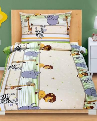Bellatex Bavlnené obliečky Safari svetlozelená, 140 x 200, 70 x 90 cm