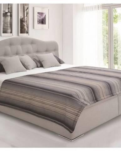 Posteľ Artena 180x200 cm, svetlo šedá tkanina / vzor prúžkov%