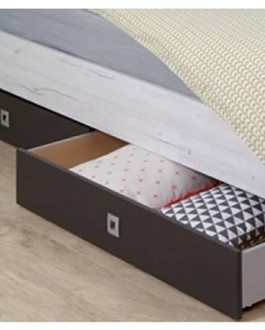 Sada úložných zásuviek pod posteľ Cariba, bielený dub/lávová, na kolieskach%