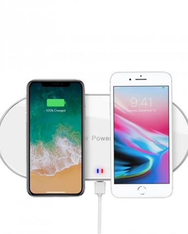 Bezdrôtová nabíjačka WG pre dva telefóny s QI, biela