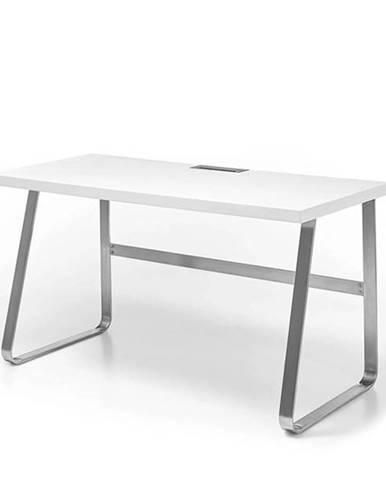 Písací stôl FIRION biela/oceľ