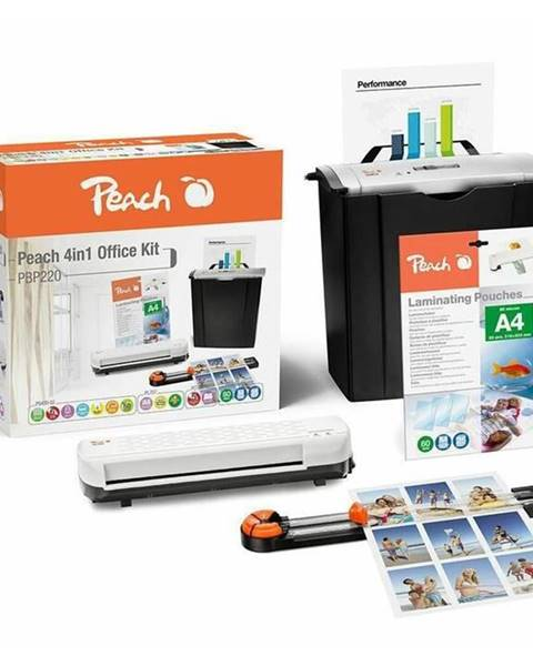 Peach Skartovač Peach 4v1 Office Kit PBP220, set skartovač, laminátor,