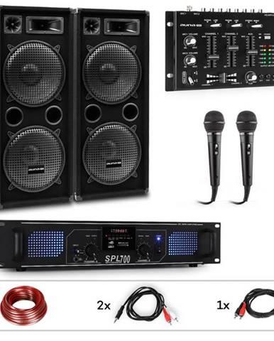 Auna Pro PW-2222 MKII, PA karaoke sada, zosilňovač, 2 pasívne PA reproduktory, mixér, 2 mikrofóny