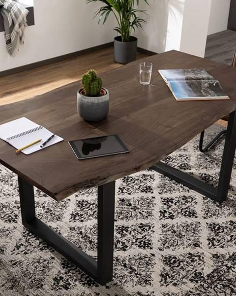 Bighome.sk METALL Jedálenský stôl s antracitovými nohami (matné) 160x90, akácia, sivá