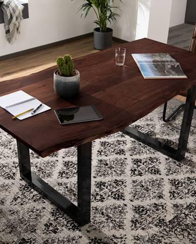METALL Jedálenský stôl s antracitovými nohami (lesklé) 140x90, akácia, hnedá