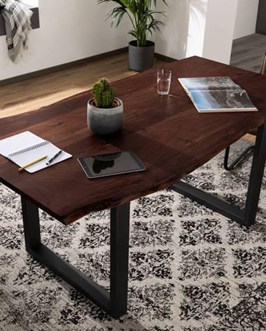 METALL Jedálenský stôl s antracitovými nohami (matné) 140x90, akácia, hnedá