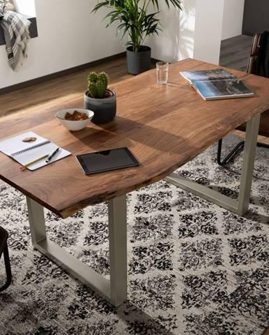 METALL Jedálenský stôl so striebornými nohami 160x90, akácia, prírodná