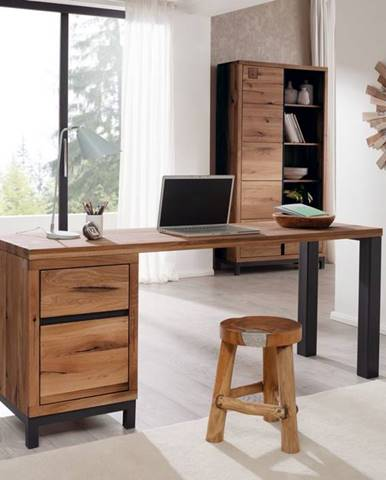 TIROL Písací stôl 180x55 cm, tmavohnedá, dub