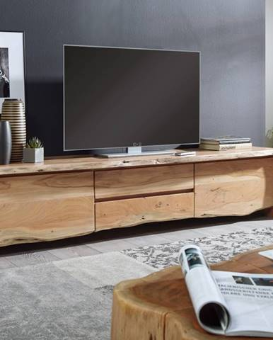 WOODLAND TV stolík 220x50 cm, prírodná, akácia