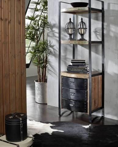 INDUSTRY Regál so šuplíkmi 200x70 cm, staré drevo