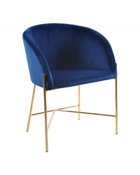 Bighome.sk Jedálenská stolička s opierkami NELSON, tmavomodrá, zlatá