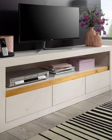 ALBURY TV stolík 160x55 cm, borovica, biela