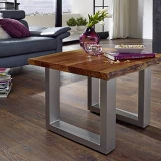 METALL Konferenčný stolík 60x60 cm, akácia