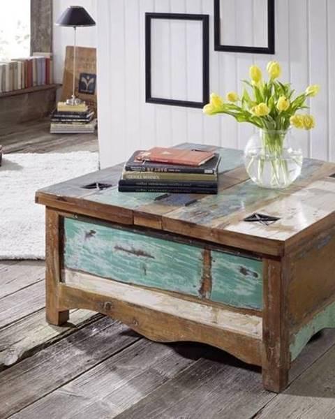 Bighome.sk OLDTIME Konferenčný stolík otvárací 90x90 cm, staré drevo