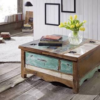 OLDTIME Konferenčný stolík otvárací 90x90 cm, staré drevo