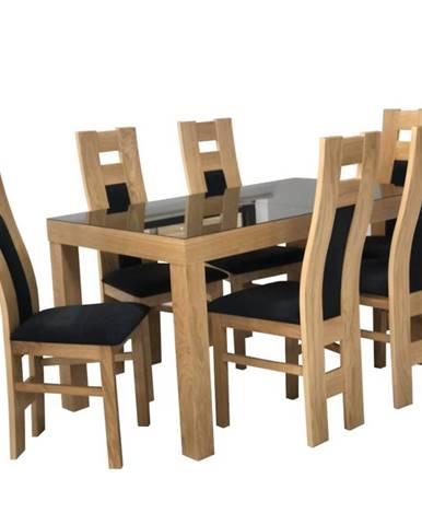 Jedálenský stôl St-630 140x80+40 Br-229 Lacobel