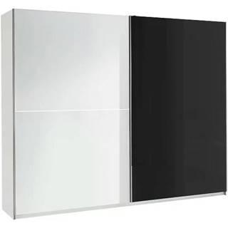 Skriňa Lux 2 244 cm  bielo/čierna lesklá