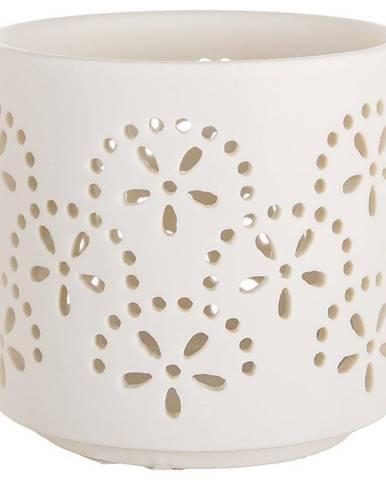 Svietnik T-Light porcelánový Flower Biały