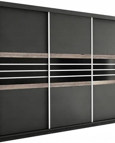 Skriňa Turyn 250 Lava/Čierne sklo