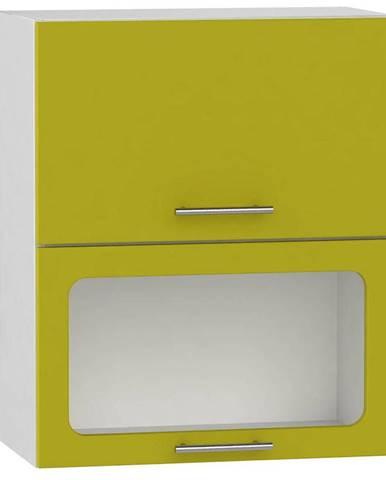 Skrinka do kuchyne Hana zelený lesk/biela W60 GRF/2 SD BB