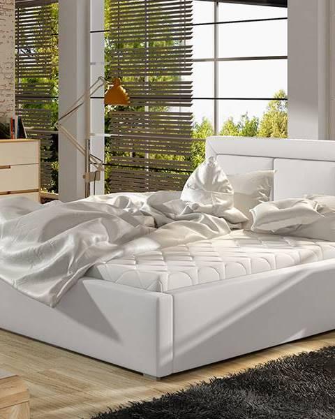 NABBI Branco UP 140 čalúnená manželská posteľ s roštom biela
