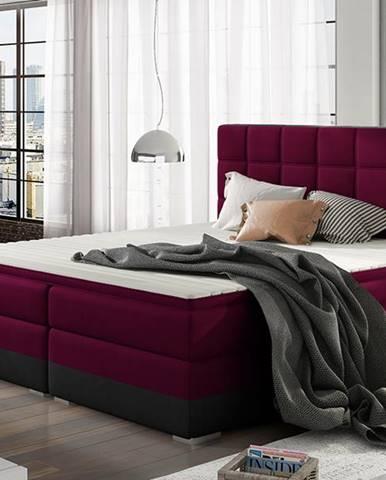 Dalino 160 čalúnená manželská posteľ s úložným priestorom vínová