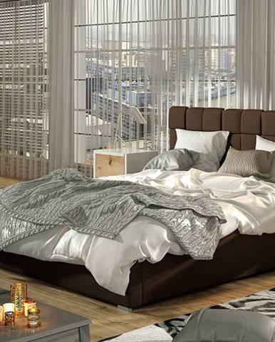 Galimo 140 čalúnená manželská posteľ s roštom tmavohnedá