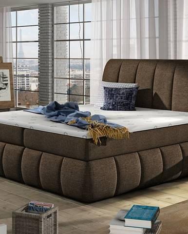 Vareso 140 čalúnená manželská posteľ s úložným priestorom tmavohnedá (Sawana 26)