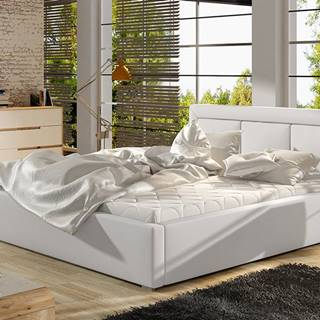 Branco UP 140 čalúnená manželská posteľ s roštom biela