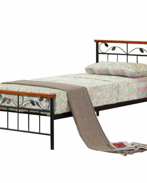 Tempo Kondela Morena 90 kovová jednolôžková posteľ s roštom čierna