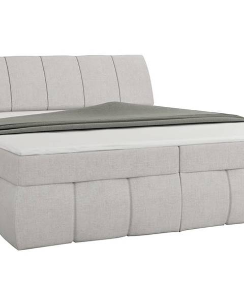 NABBI Vareso 140 čalúnená manželská posteľ s úložným priestorom svetlosivá (Orinoco 21)