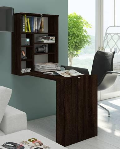 Hide rozkladací písací stolík s regálom sonoma tmavá