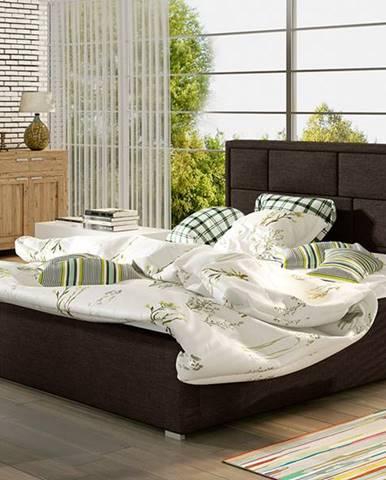 Liza UP 140 čalúnená manželská posteľ s roštom tmavohnedá (Sawana 26)