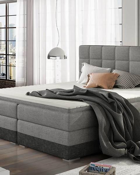 NABBI Dalino 180 čalúnená manželská posteľ s úložným priestorom svetlosivá (Sawana 21)
