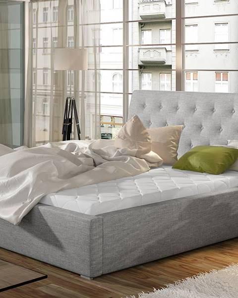 NABBI Monzo UP 160 čalúnená manželská posteľ s roštom svetlosivá (Sawana 21)